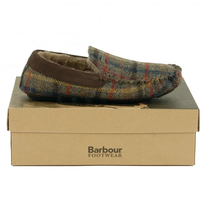 Barbour Monty Slippers Olive Check
