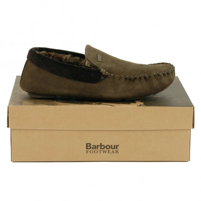 Barbour Monty Slippers Olive Suede