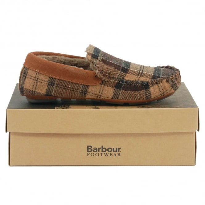 Barbour Monty Thinsulate Slippers Camel Tartan