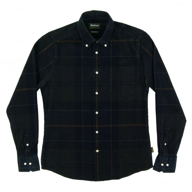 Barbour Nauton Check Cord Shirt Forest
