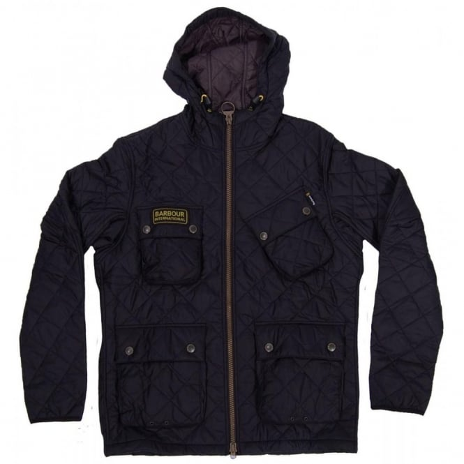 Flannel Motorcycle Jacket >> Barbour International Paxton Hooded Quilt Jacket Black - Mens Clothing from Attic Clothing UK