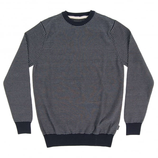 Barbour Reverse Stripe Crew Jumper Navy