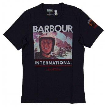 barbour steve mcqueen racer t shirt navy mens clothing from attic clothing uk. Black Bedroom Furniture Sets. Home Design Ideas