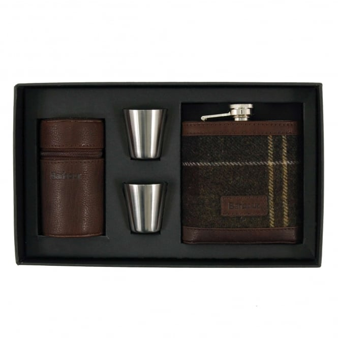 Barbour Tartan Hip Flask and Cups Classic Tartan