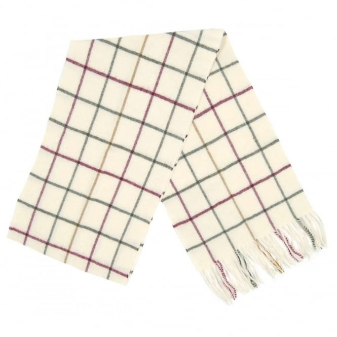 Barbour Tattersall Lambswool Scarf Cream Red