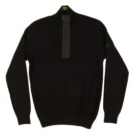 Throttled Half Zip Jumper Black