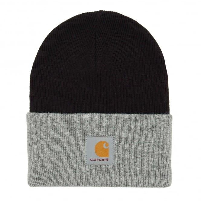 Carhartt Bi Colour Acrylic Watch Hat Black Grey Heather