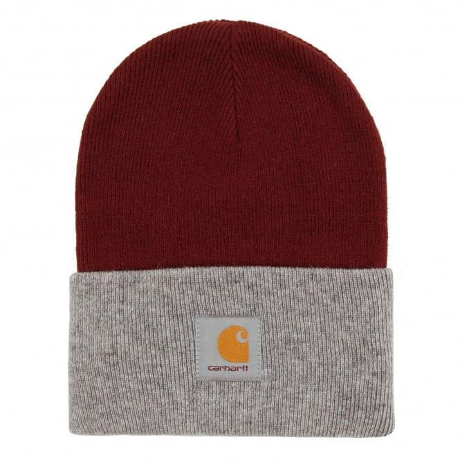 Carhartt Bi Colour Acrylic Watch Hat Chianti Grey Heather