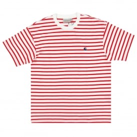 Champ T-Shirt Stripe Goji White