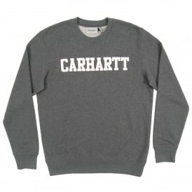 College Sweatshirt Dark Grey Heather White