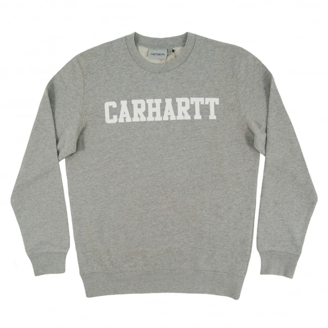 Carhartt College Sweatshirt Grey Heather White