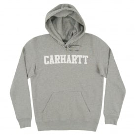Hooded College Sweat Grey Heather White
