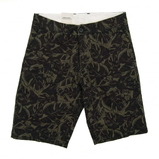 Carhartt Johnson Shorts Dexter Lotus Print Trekking Green Black