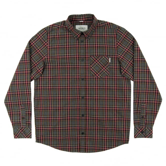 Carhartt Leroy Check Shirt Black Heather Burgundy