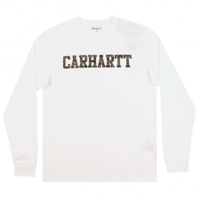 Carhartt LS College T-Shirt White Camo Tiger Laurel