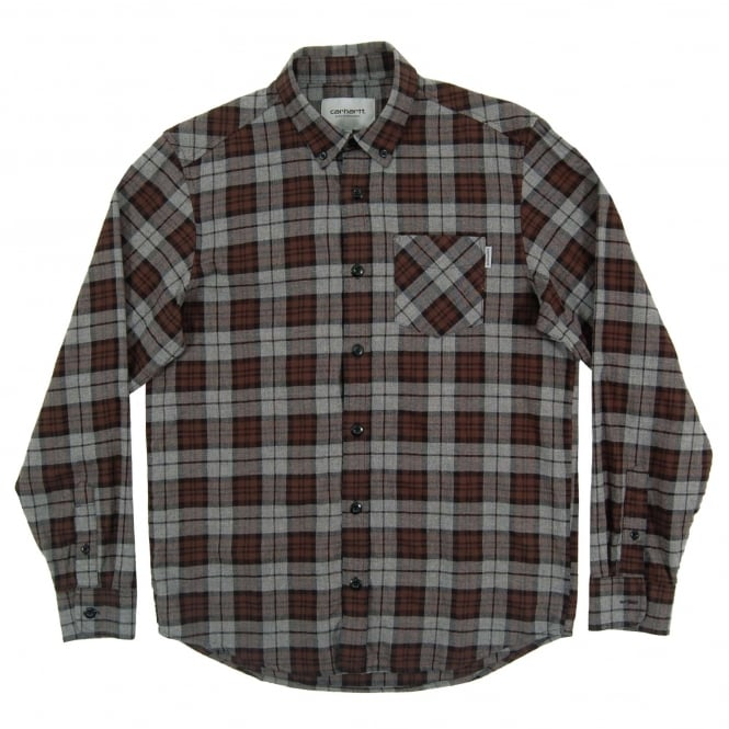 Carhartt Norton Check Shirt Dark Grey Heather Tobacco