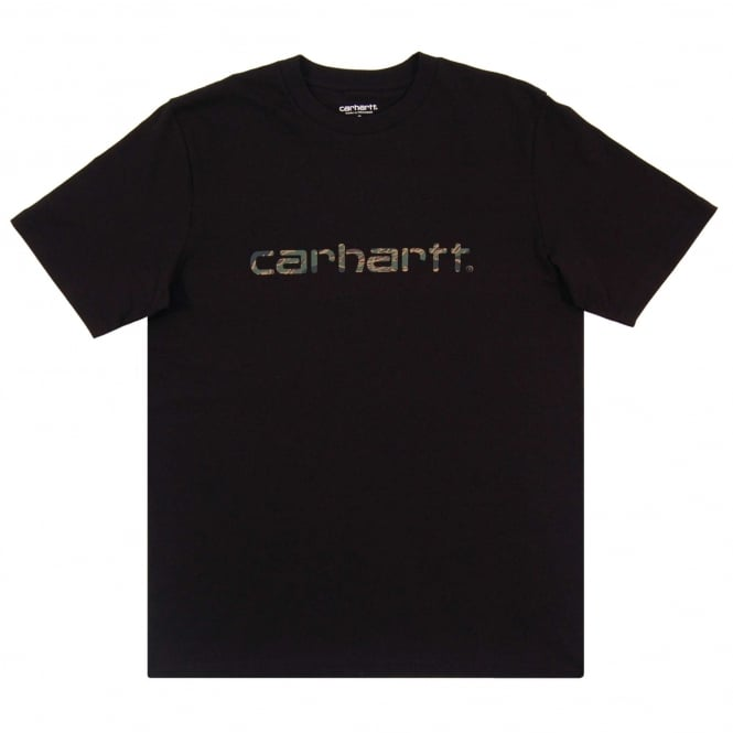 Carhartt Script T-Shirt Black Camo Tiger Laurel