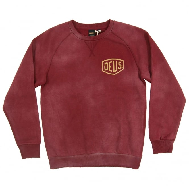 Deus Ex Machina Sunbleached Milano Crew Sweat Maroon