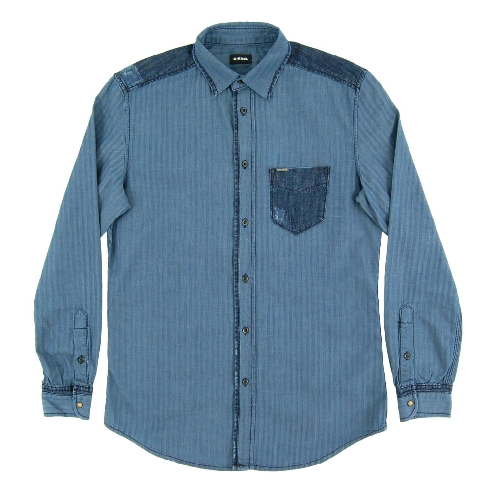 5d32fcdf40b Diesel D-Jerry Herringbone Denim Shirt - Mens Clothing from Attic ...