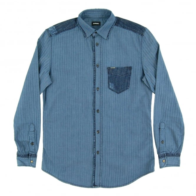 Diesel D-Jerry Herringbone Denim Shirt