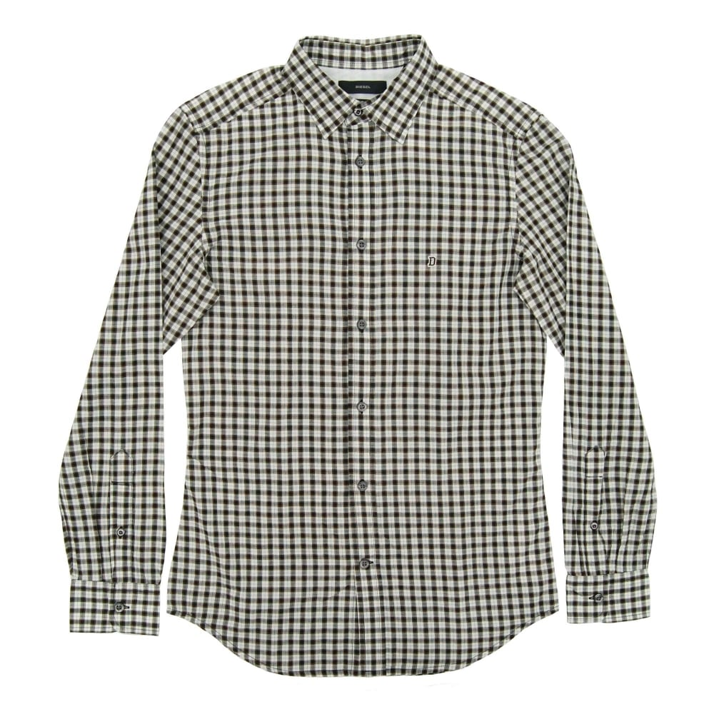 Diesel s chains check shirt black white mens clothing for Black and white checker shirt