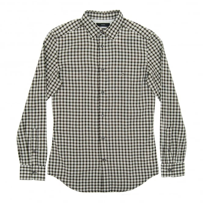 Diesel S-Chains Check Shirt Black White