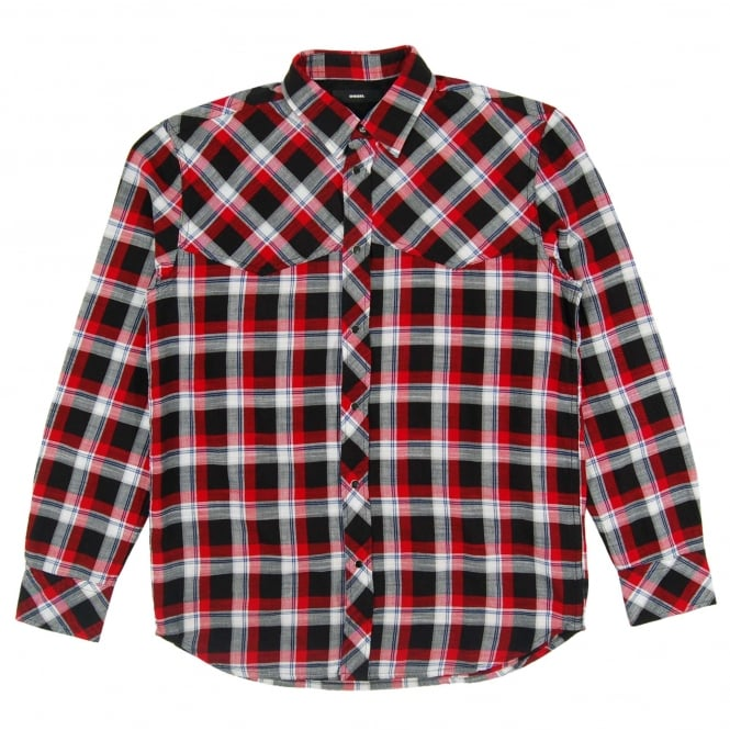Diesel S-Planet Check Shirt Black Red