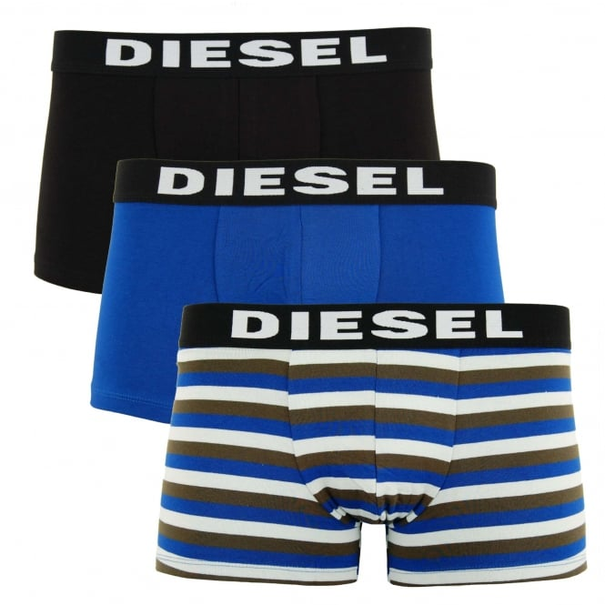 Diesel Shawn 3 Pack Boxers Black Blue Striped