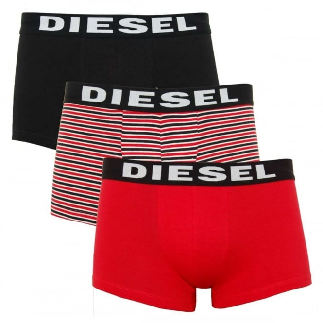 Diesel Shawn 3 Pack Boxers Black Rose Red Stripe