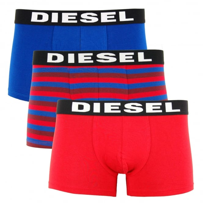 Diesel Shawn 3 Pack Boxers Red Blue Stripe