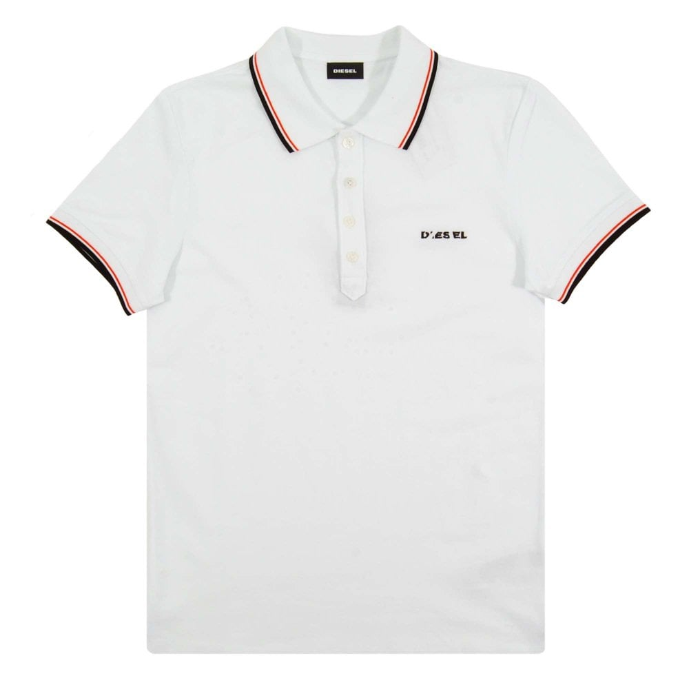 a7663fbc Diesel T-Randy-Broken Polo White - Mens Clothing from Attic Clothing UK