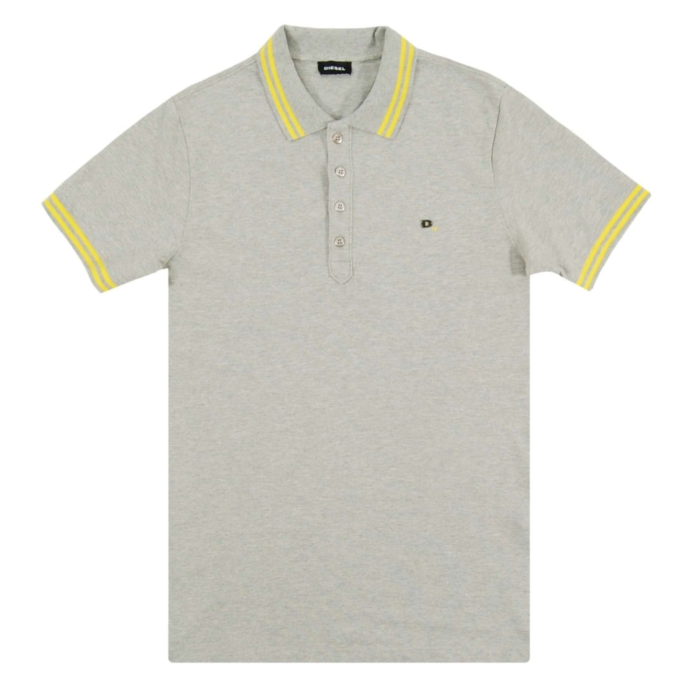 7fc261a3a Diesel T-Randy Tipped Polo Marl Grey - Mens Clothing from Attic ...