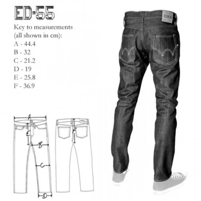 a172e558 Edwin ED-55 Jeans Red Selvedge Raw 14oz - Mens Clothing from Attic ...