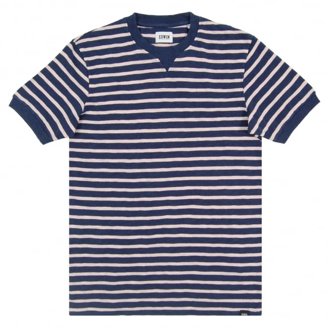 Edwin International Tee Stripe Navy Pink