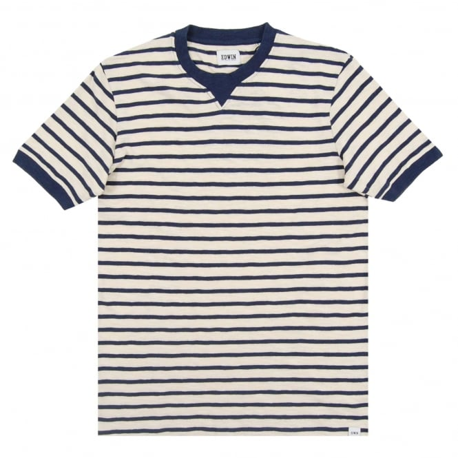 Edwin International Tee Stripe Off White Navy