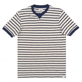 International Tee Stripe Off White Navy