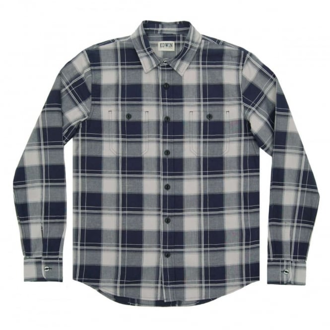 Edwin Labour Check Poplin Shirt Navy