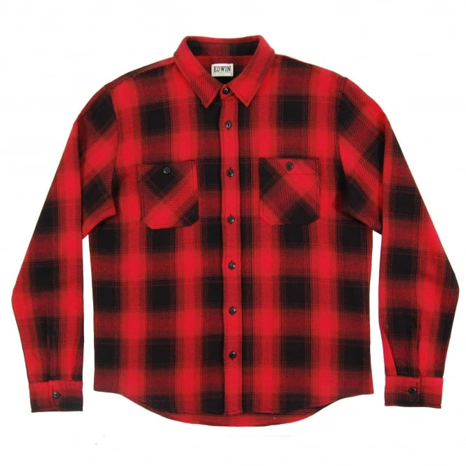 Edwin Labour Check Shirt Heavy Flannel Red Brown
