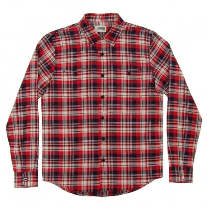Edwin Labour Check Shirt Herringbone Seersucker Red