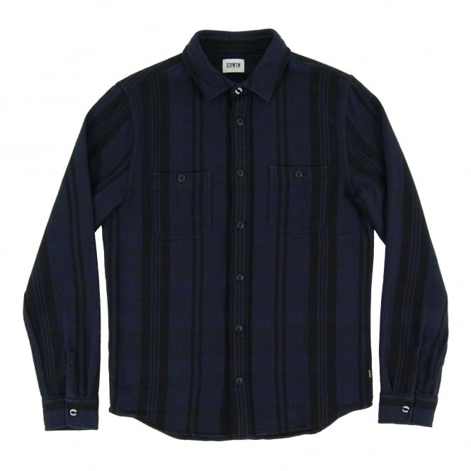 Edwin Labour Shirt Flannel Check Stripes Navy Black