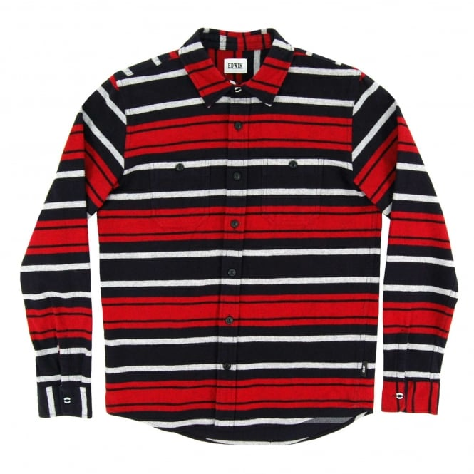 Edwin Labour Shirt Heavy Flannel Stripes Navy Red