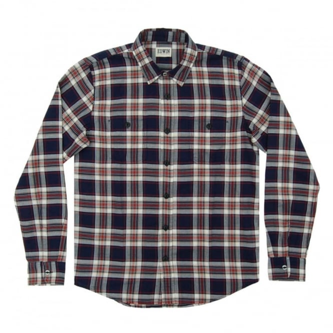 Edwin Labour Shirt Herringbone Seersucker Blue