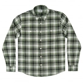 Labour Shirt Herringbone Seersucker Check Black Military Green