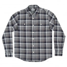 Labour Shirt Herringbone Seersucker Check Navy Grey