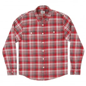 Labour Shirt Herringbone Seersucker Check Red Grey
