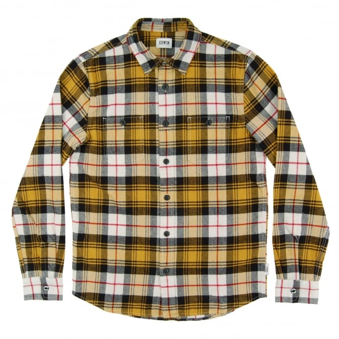 Edwin Labour Shirt Mustard Flannel Check