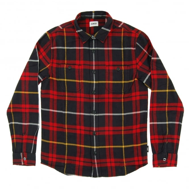 Edwin Labour Shirt Red Black Flannel Check