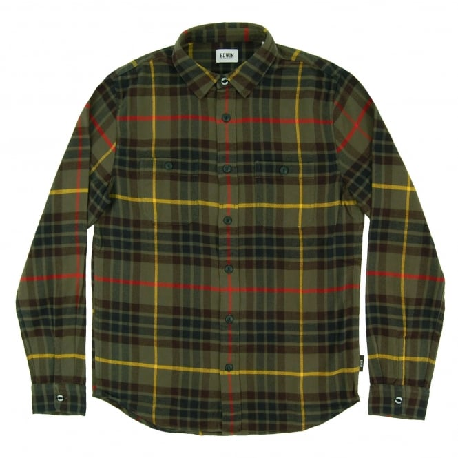 Edwin Labour Shirt Uniform Green Flannel Check