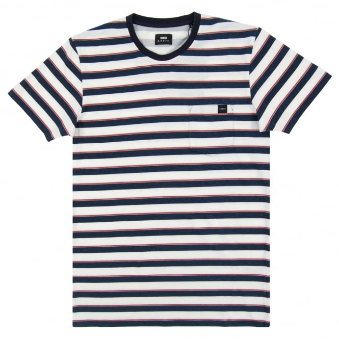 Edwin Pocket T-Shirt Striped Navy White