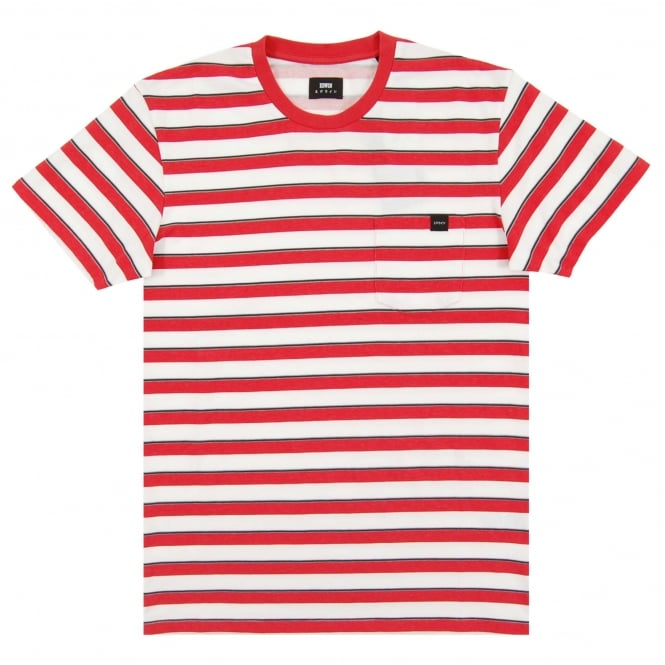 Edwin Pocket T-Shirt Striped White Washed Red
